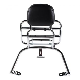 **CHROME** REAR FOLDING RACK W/ PASSENGER BACK REST AND GRAB RAIL FOR VESPA PRIMAVERA & SPRINT