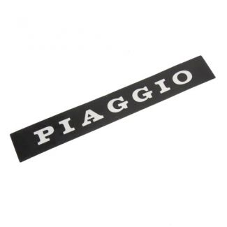 Piaggio Sticker For Back Of Seat Black W/ Silver Writing