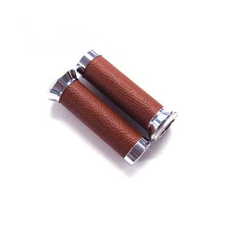 GTS Leather Grips w/Chrome Ends BROWN