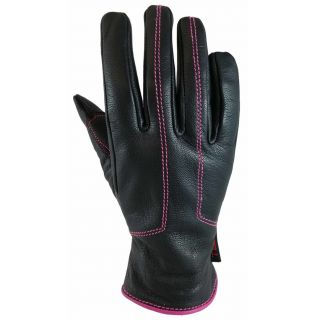 "Torc Women's Gloves ""Santa Monica"" Black Leather w/ Pink Stitching"