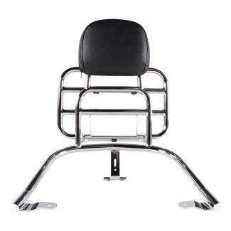 **CHROME** REAR FOLDING RACK W/ PASSENGER BACK REST AND GRAB RAIL FOR VESPA GTS 250 300