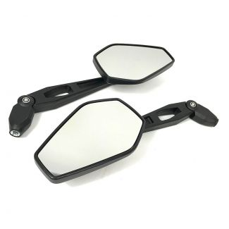 CUSTOM PAIR OF BLACK MIRRORS FOR MODERN VESPA GTS W/ SPECIAL ADAPTOR KIT FOR MOST VESPAS
