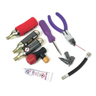 TUBELESS TIRE DELUXE REPAIR KIT - 3 AIR CANISTERS, 3 PLUGS, GLUE , NOZZLE, AND SIDE CUTTERS