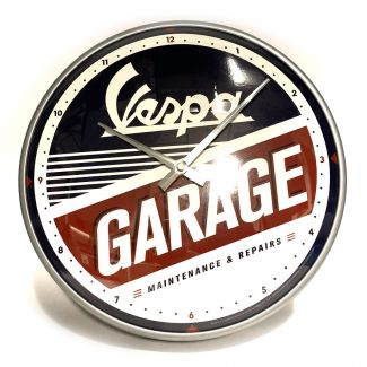 "VESPA GARAGE METAL AND GLASS ANALOG WALL CLOCK 12"" DIAMETER"