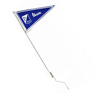 **VESPA/PIAGGIO BLUE AND WHITE** FLAG W/ STAINLESS STEEL SPRING MOUNTED STEM