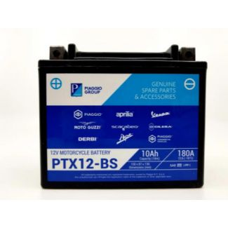 BATTERY OEM PIAGGIO BRANDED PTX12-BS SAME AS YTX12BS (12V 10AH) 1R000318