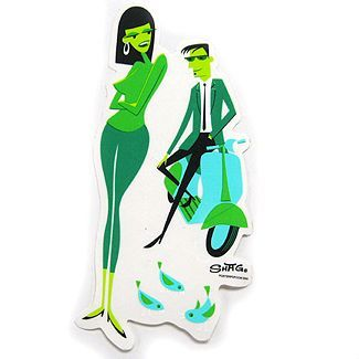 Shag Scooter Couple Sticker Green