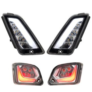 COMPLETE SET OF 4 CLEAR LENS LED SWITCHBACK RUNNING AND TURN SIGNAL LIGHT KIT GTV GTS SUPER 300 2015-2020