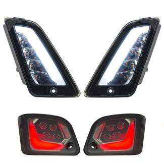 COMPLETE SET OF 4 SMOKED LENS LED SWITCHBACK RUNNING AND TURN SIGNAL LIGHT KIT GTS SUPER 300 2015-2020 & ALL YEARS GTV
