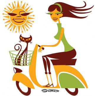 SHAG GIRL ON SCOOT STICKER SUN ORANGE/GREEN LARGE