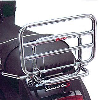 Vespa S and LX Chrome Fold Down Rear Rack with Grab Rail by FACO