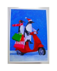 Penguins Holiday Shopping on Vespa Scooter Box Of TEN